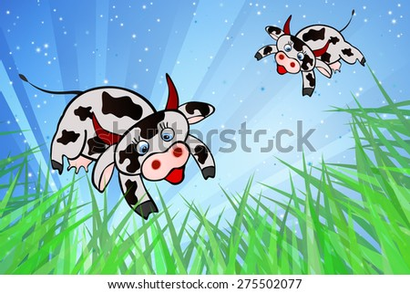 Flying Cows - stock vector