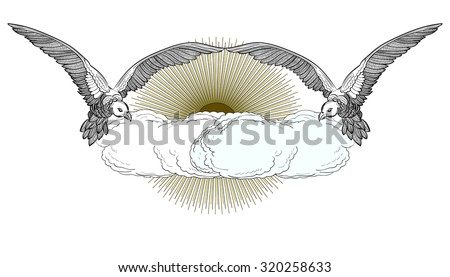 Flying Doves, Cloud & Rising Sun isolated on white background. Christian symbol of Holy Spirit. Peace, Faith, Love symbol. Vintage Vector Element.  - stock vector