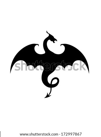 Flying dragon illustration - stock vector