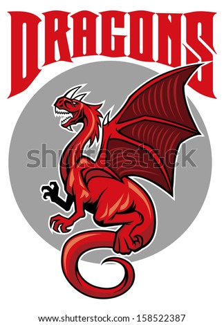 flying dragon mascot - stock vector