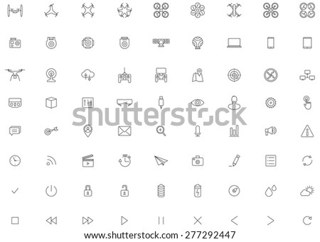 Flying Drone, Camera Vector Icon set - stock vector