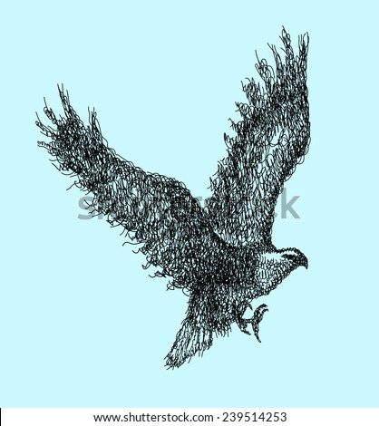 Flying eagle abstract doodle style. Bird animal with curl black hand drawing style. Good use for illustration, symbol, mascot, icon, or any design you want. Easy to use, edit, or change color. - stock vector