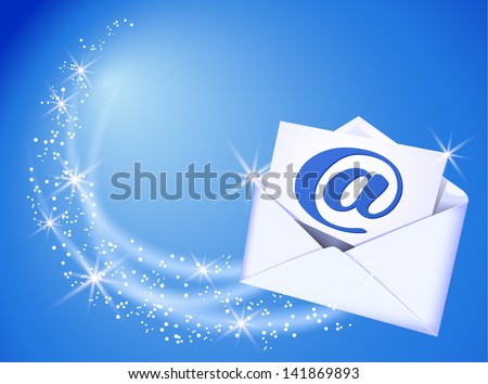 Flying envelope and paper with e-mail sign - stock vector