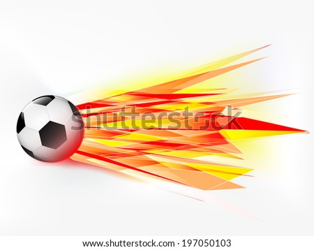 flying football ball with abstract flaming shoot vector illustration - stock vector