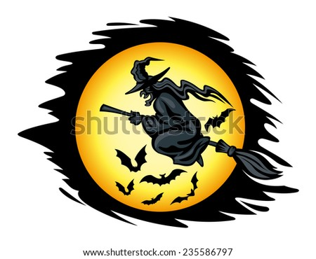 Flying halloween witch for seasonal holiday design. Vector illustration - stock vector