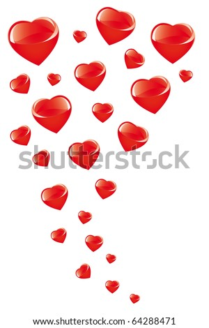 Flying hearts - stock vector