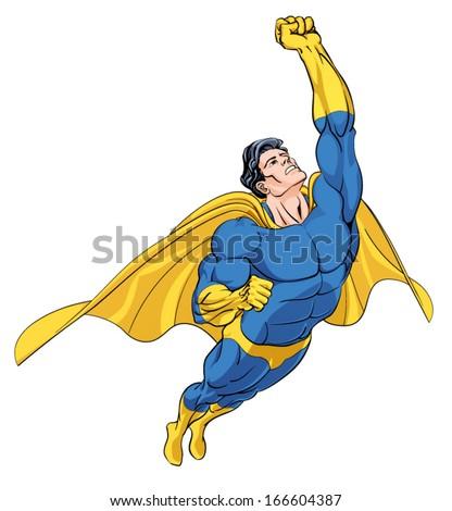 Flying Hero Isolated - stock vector