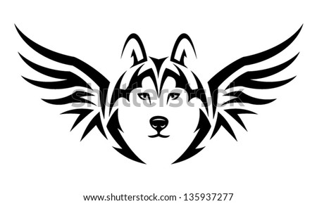 Flying Husky dog. Tribal tattoo illustration - stock vector