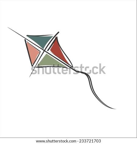 flying kite - stock vector