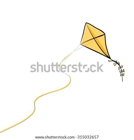 Flying kite, vector illustration - stock vector