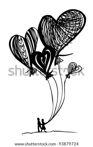 flying like a balloon drawing hearts on Valentine's Day - stock vector