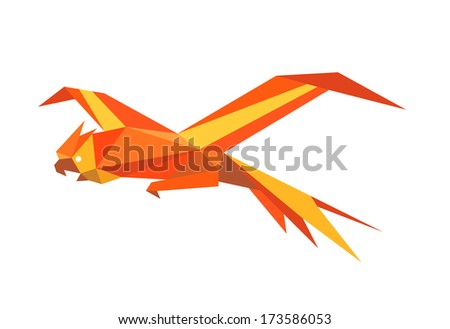 Flying macaw parrot drawn in origami style - stock vector