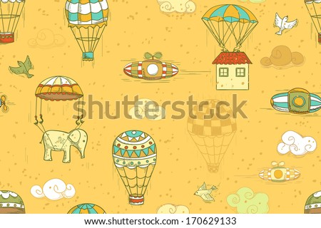 flying objects set with hot air balloons, parachute, airships, clouds, birds, house. Seamless pattern, endless background - stock vector