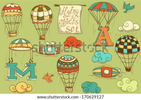 flying objects set with hot air balloons, parachute, airships, clouds, birds, letters A and M, colored in green background, vintage hand-drawn icons  - stock vector