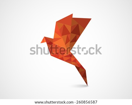 Flying origami bird on grey background for International Peace Day and Earth Day celebration. - stock vector