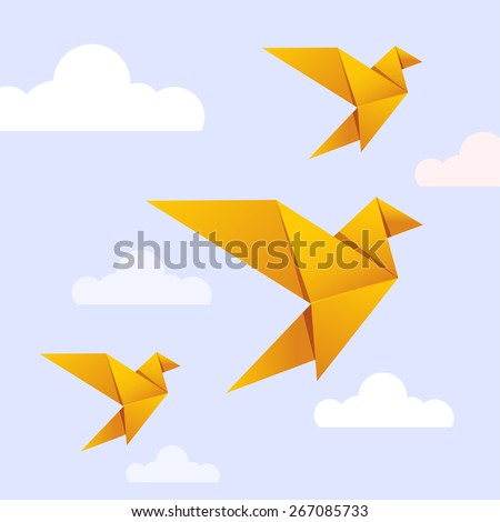 Flying origami yellow bird on blue background with white cloud for International Peace Day and Earth Day celebration. Bird can use logo or icon. Vector Origami Gold Bird. Paper Bird Flying on Heaven. - stock vector