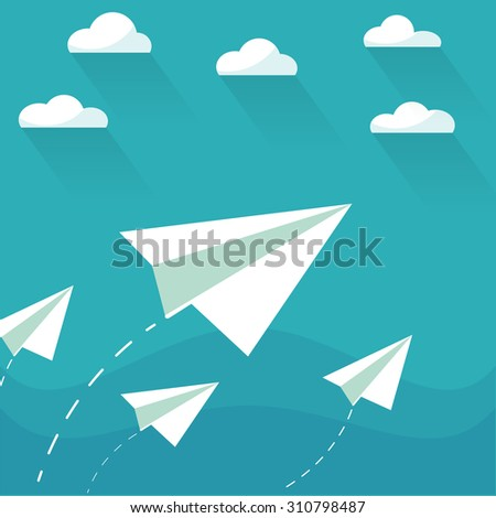 Flying paper planes on the blue sky with clouds. Career, growth or leadership concept. Travel, vacation, holidays or migration concept. Air mail, post letter, delivery service or e-mail vector concept - stock vector