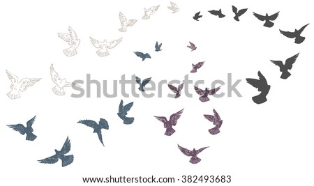 Flying pigeons, flock of birds, flying-up group, flight of pigeon. Set of silhouettes. Hand drawn Vector illustration. - stock vector
