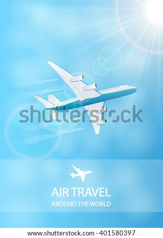 Flying plane and vapor trail in the blue sky, air travel background, illustration. - stock vector