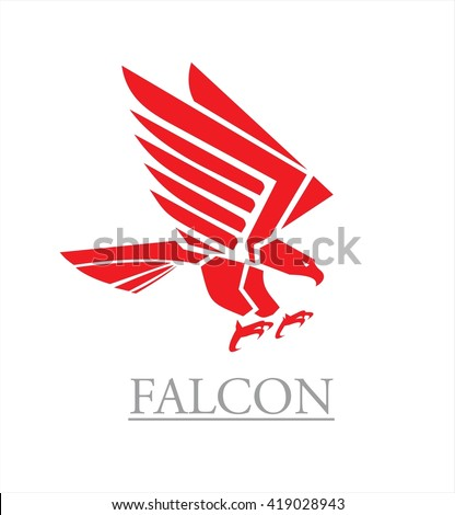 Flying red eagle with the spreading wings. Hawk. Falcon. Red falcon. - stock vector