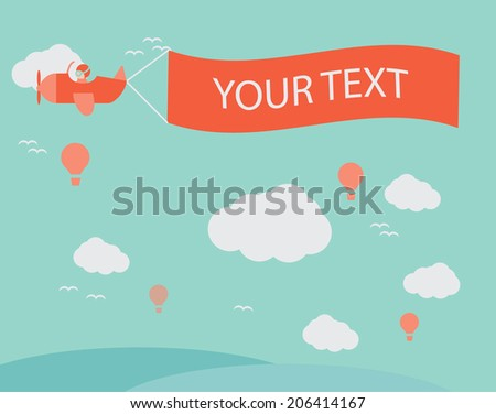 Flying retro plane with the banner, template for a text. Vector  - stock vector