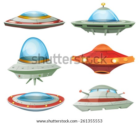 Flying Saucer, Spaceship And UFO Set/ Illustration of a set of cartoon funny UFO, unidentified spaceship and spacecrafts from alien invaders, with various futuristic shapes - stock vector