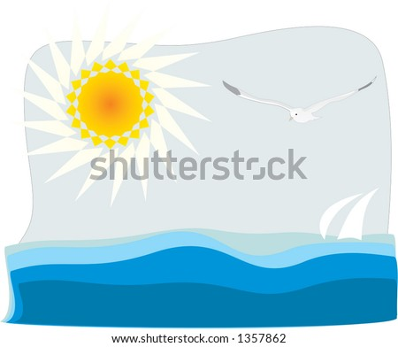 Flying seagull, sun and sea - stock vector