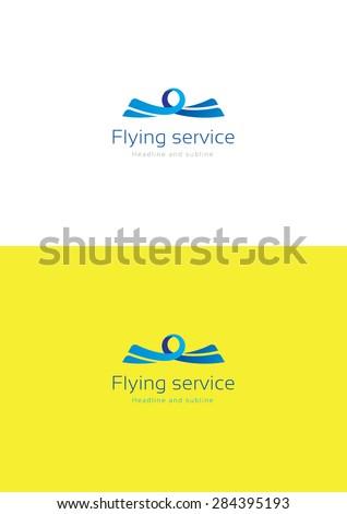 Flying service logo template. - stock vector