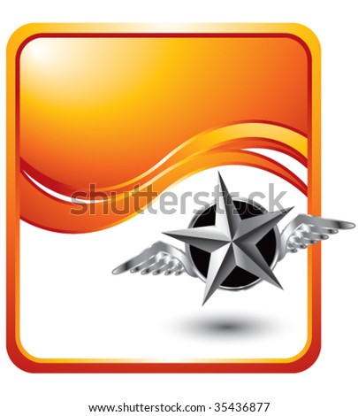 flying silver star on orange wave background - stock vector