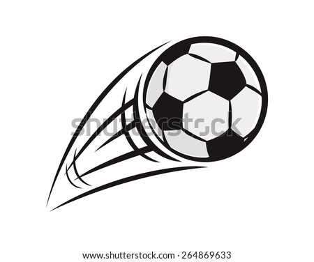 flying soccer ball - stock vector