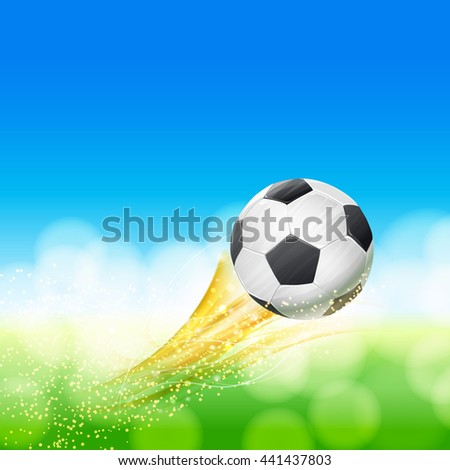 flying soccer ball over green and blue landscape with glittering particles. football theme vector illustration - stock vector