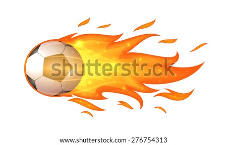 Flying soccer ball with flames isolated on white - stock vector