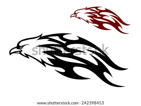 Flying speeding eagle icon with a cruel sharp beak trailing flames behind it in two color variants, black and red, vector illustration - stock vector