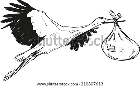 Flying Stork with Baby Bag - isolated on background - stock vector