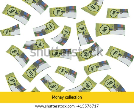 Flying swiss franc banknotes. Money rain. Falling franc - stock vector
