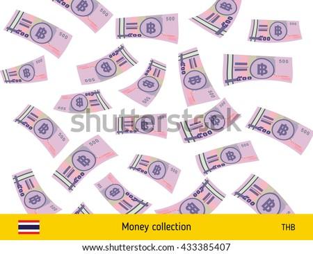 Flying Thai baht banknote. Money rain. Falling baht - stock vector