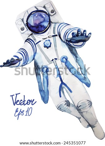 Flying watercolor astronaut. Vector character  isolated on white background - stock vector
