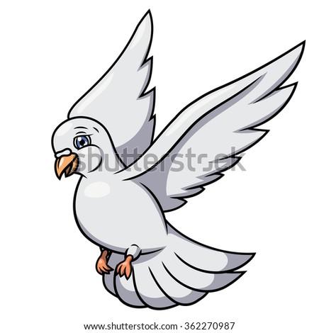 Flying white dove 2 - stock vector