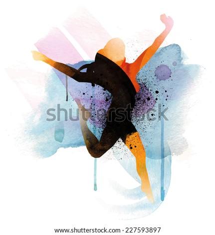 Flying Woman - stock vector
