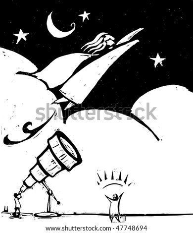 Flying woman with superpowers flies past a man with a telescope. - stock vector
