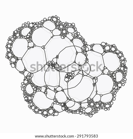 Foam bubbles detailed, isolated, top view - stock vector