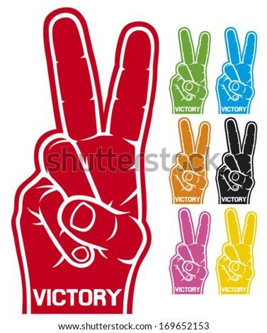 foam hand - victory symbol (victory foam hand gesture) - stock vector