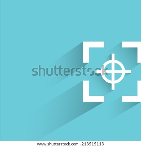 focus, blue background, flat and shadow theme design - stock vector
