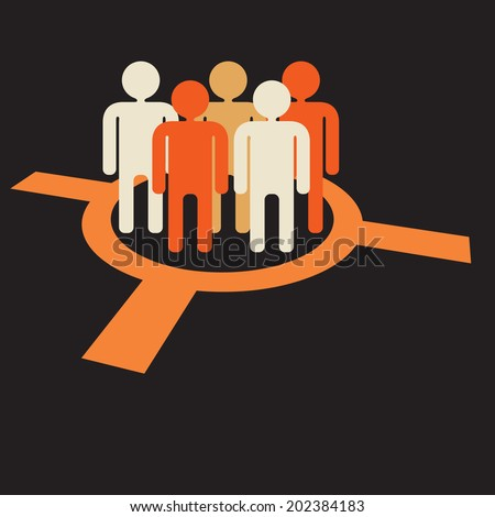 focus group: target audience at aim - stock vector