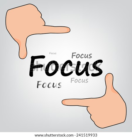 Focus Hands grey background - stock vector