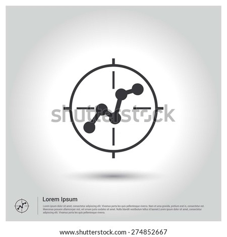 focus on business progress growing graph icon - stock vector