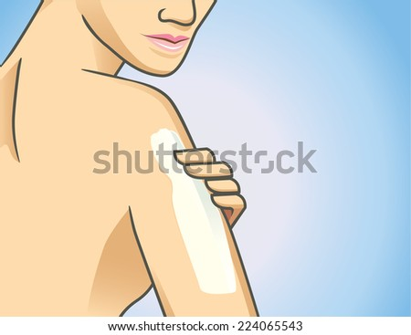 Focus shot of woman applying lotion on arm - stock vector