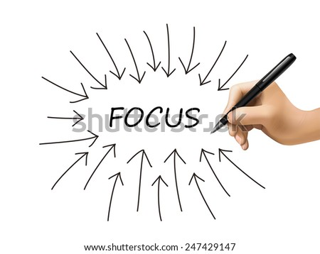 focus word and arrows drawn by 3d hand over white - stock vector