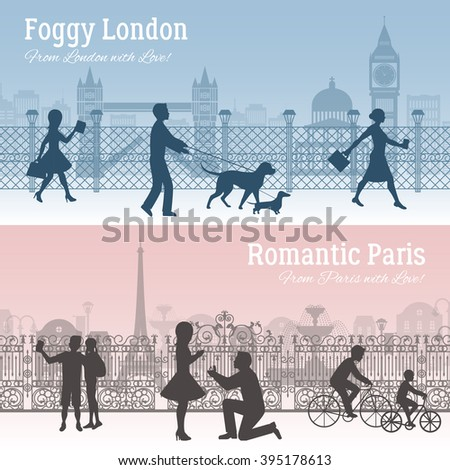 Foggy London and romantic Paris horizontal silhouette banners set flat isolated vector illustration - stock vector