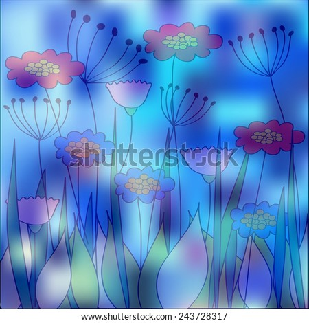 foggy meadow illustration - stock vector